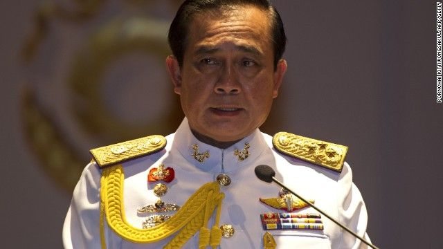 Gen. Prayuth Chan-ocha addressed reporters in Bangkok, saying he had received a royal command from the country's deeply revered King to head the ruling military council.