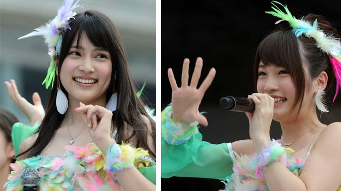 This combo of file photos shows Japanese girls' pop group AKB48 members Anna Iriyama (left) and Rina Kawaei (AFP Photo