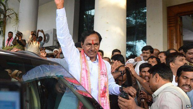 K Chandrasekhar Rao of the Telangana Rashtra Samithi (TRS), which spearheaded the protest for a new state, becomes chief minister for Telangana