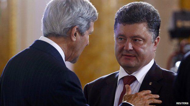 Petro Poroshenko, right, has already met US Secretary of State John Kerry in Warsaw