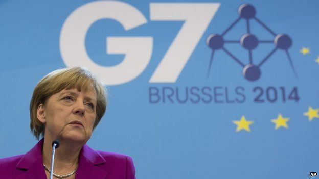 Angela Merkel at Brussels news conference. 4 June 2014 Angela Merkel said tougher sanctions against Russia were an option