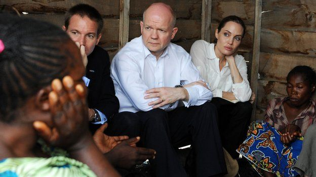 Mr Hague has visited several warzones with Ms Jolie to meet victims of sexual violence in recent years.