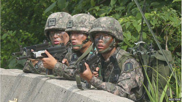 South Korean troops were deployed to Goseong town to search for the man after Saturday's attack