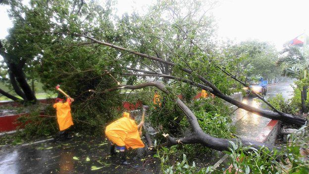 Government workers remove a fallen tree along a main road after strong winds brought by Typhoon Rammasun battered the capital, metro Manila on 16 July, 2014 Typhoon Rammasun battered the Philippines, bringing down trees and knocking out power