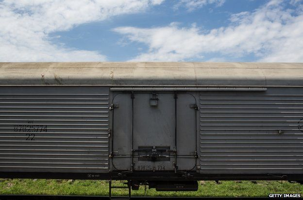 A freight wagon carrying the remains of MH17 victims at Torez station