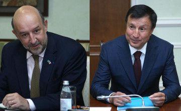 Ambassador of France to Kazakhstan Francis Etienne and RoK Secretary of State Adilbek Dzhaksybekov