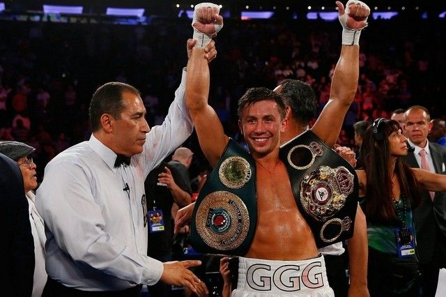 Kazakh boxer G. Golovkin celebrates after his win over Daniel Geale on Sat in NYC.
