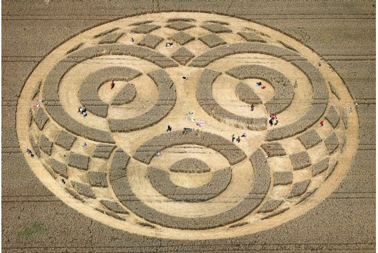 Farmer Cristoph Huttner says he doesn't know where the 75-metre ornate design came from