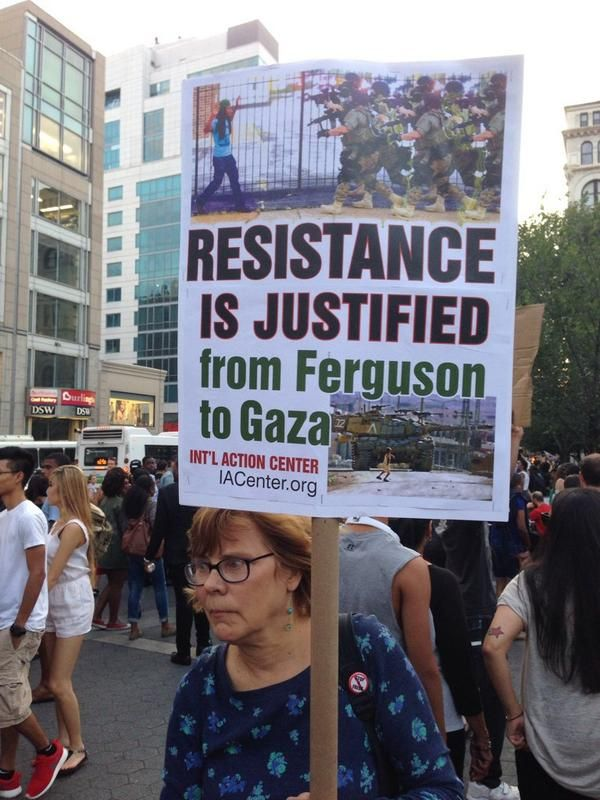 People showing solidarity for those in Ferguson and Gaza