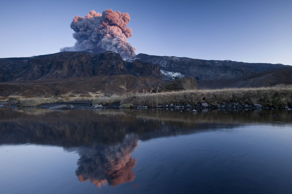 Eyjafjallajokull erupts, producing a cloud of vapor on May 10, 2010 in Iceland. Photo: Getty Images