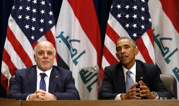 U.S. President Barack Obama meets with Iraqi Prime Minister Haider al-Abadi during the United Nations General Assembly in New York September 24, 2014.