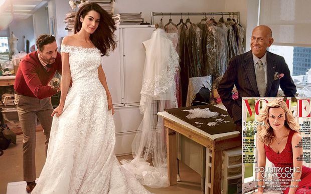 Amal Alamuddin with dress designer Oscar De Le Renta