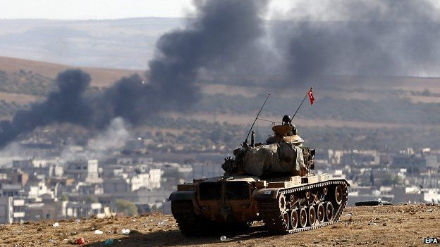 Turkey has tanks deployed along its border within sight of the fighting inside Kobane