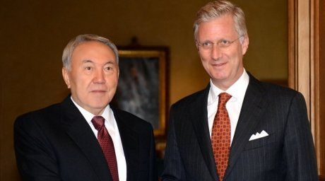 President of Kazakhstan Nursultan Nazarbayev and King Philippe of Belgium. Photo courtesy of akorda.kz  For more information see: http://en.tengrinews.kz/politics_sub/Kazakhstans-President-Nursultan-Nazarbayev-meets-Belgiums-King-Philippe-256733/ Use of the Tengrinews English materials must be accompanied by a hyperlink to en.Tengrinews.kz