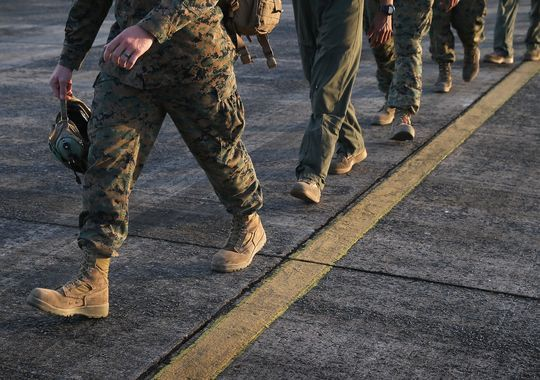 U.S. Marines arrive as part of Operation United Assistance on Oct. 9, 2014 in Monrovia, Liberia. Some 90 Marines, the largest group of U.S. military yet, arrived on KC-130 transport planes and MV-22 Ospreys to support the American effort to contain the Ebola epidemic.(Photo: Getty Images)