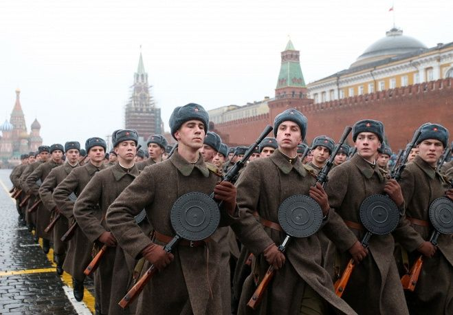 Thousands of Russian soldiers and military cadets marched across Red Square to mark the 73rd anniversary of a historic World War II parade