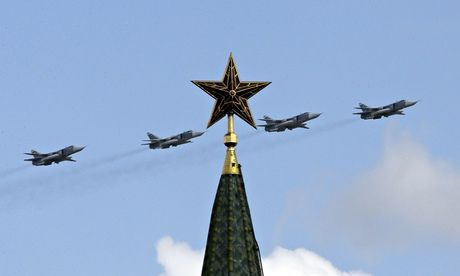 Russian military jets fly in formation above the Kremlin. The European Leadership Network's report comes after a warning from Mikhail Gorbachev that the world is 'on the brink of a new cold war'. Photograph: Tatyana Makeyeva / Reuters/Reuters