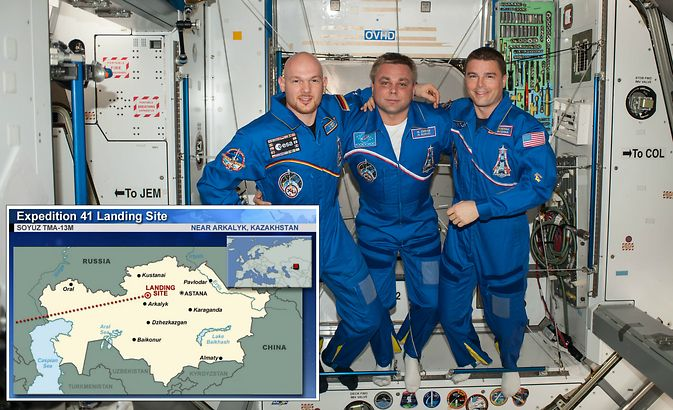 European Space Agency astronaut Alexander Gerst (left), Russian cosmonaut Maxim Suraev (center) and NASA astronaut Reid Wiseman pose for a portrait in the Harmony node of the International Space Station. The three crew members of Expedition 41 returned to Earth at 10:58 p.m. EDT Sunday, Nov. 9. Image Credit: NASA
