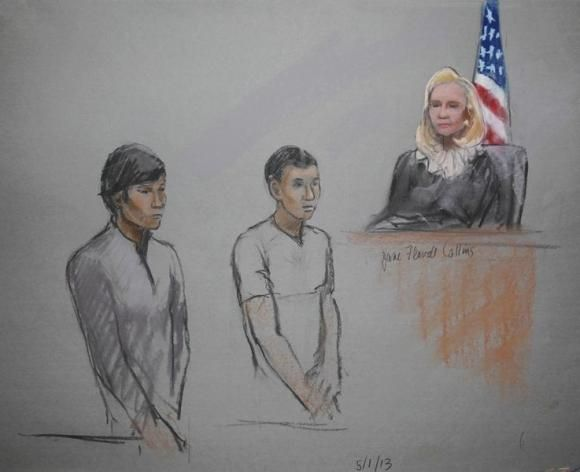 Defendants Dias Kadyrbayev (L) and Azamat Tazhayakov are pictured in a courtroom sketch.