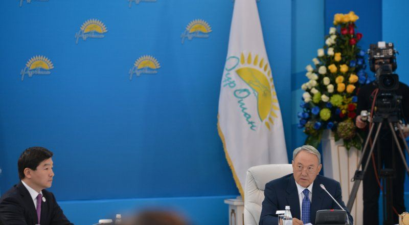 Baubek and Nazarbayev at the Nur Otan party