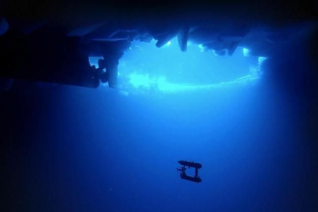 Underwater robot mapping sea ice. (Woods Hole Oceanographic Institution)