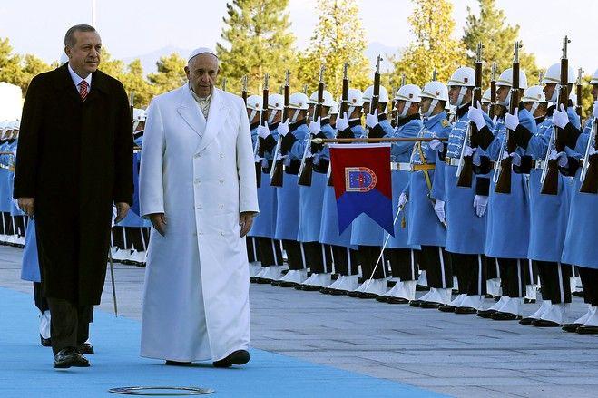 Pope Francis and Recep Tayyip Erdogan