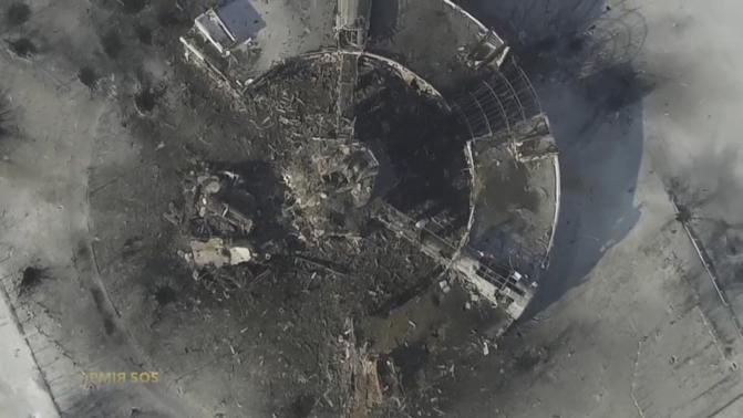 An aerial footage shot by a drone shows a multi-storey control tower of the Sergey Prokofiev International Airport damaged by shelling during fighting between pro-Russian separatists and Ukrainian soldiers.