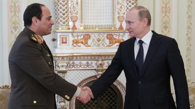 Last year Mr Sisi visited Russia to negotiate huge arms deals