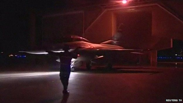The Egyptian jets attacked targets in Libya at dawn, the military said