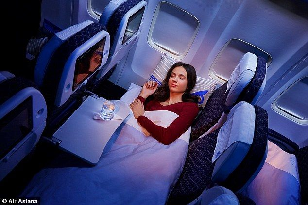The sleeper seats were introduced this month on trips between Kazakhstan and London and Frankfurt  Read more: http://www.dailymail.co.uk/travel/travel_news/article-2959819/Air-Astana-launches-economy-sleeper-class-flights-London-Kazakhstan.html#ixzz3SC42to8m  Follow us: @MailOnline on Twitter | DailyMail on Facebook