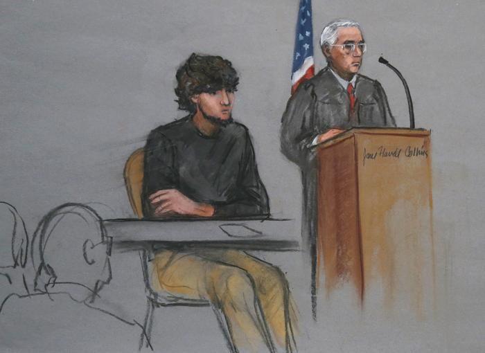 oston Marathon bombing suspect Dzhokhar Tsarnaev, left. (AP Photo