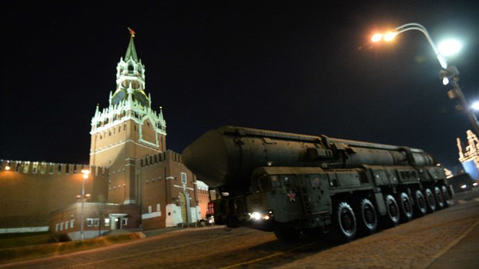 A Topol-M missile launcher rolls down Red Square in Moscow (RIA Novosti)