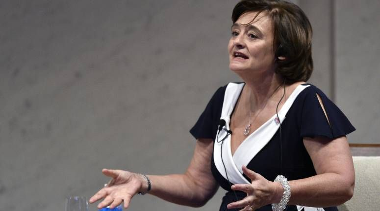 Cherie Blair, wife of former British Prime Minister Tony Blair, gestures as she paticipates to a dialogue for the World Assembly for Women (WAW! Tokyo 2014.