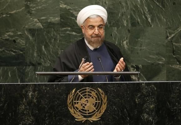 ranian President Hassan Rouhani gestures at the conclusion of his address to the 69th United Nations General Assembly at the United Nations Headquarters in New York, September 25, 2014.