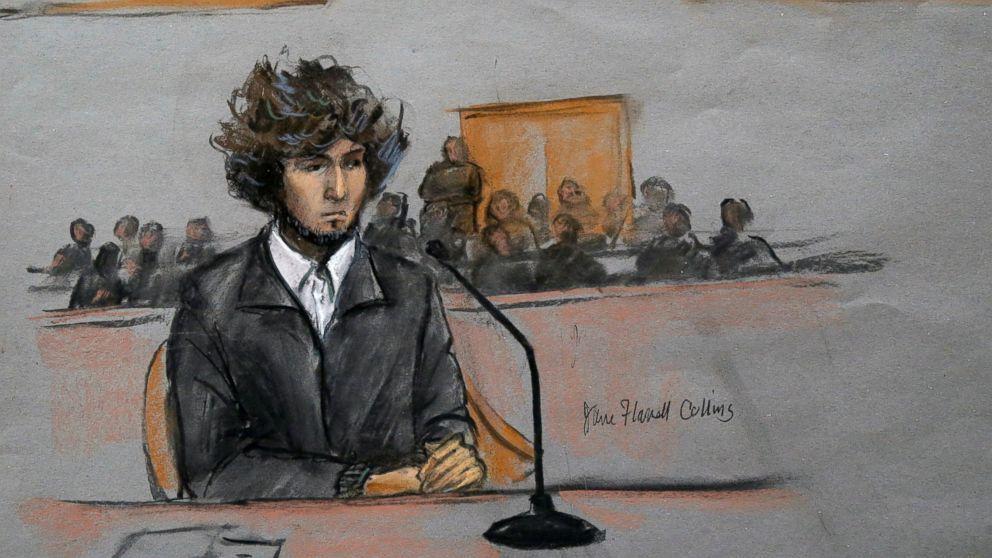 In this courtroom sketch, Boston Marathon bombing suspect Dzhokhar Tsarnaev is seen sitting in federal court in Boston, Dec. 18, 2014.