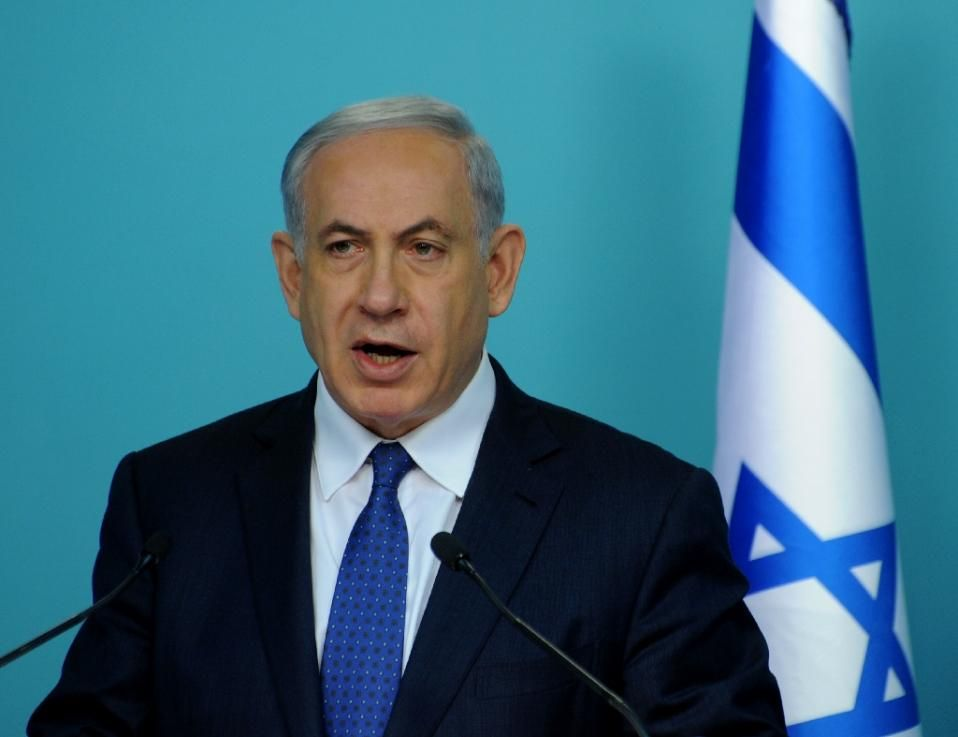 Israeli Prime Minister Benjamin Netanyahu makes a statement to the press about negotiations with Iran at his office in Jerusalem on April 1, 2015 (AFP)