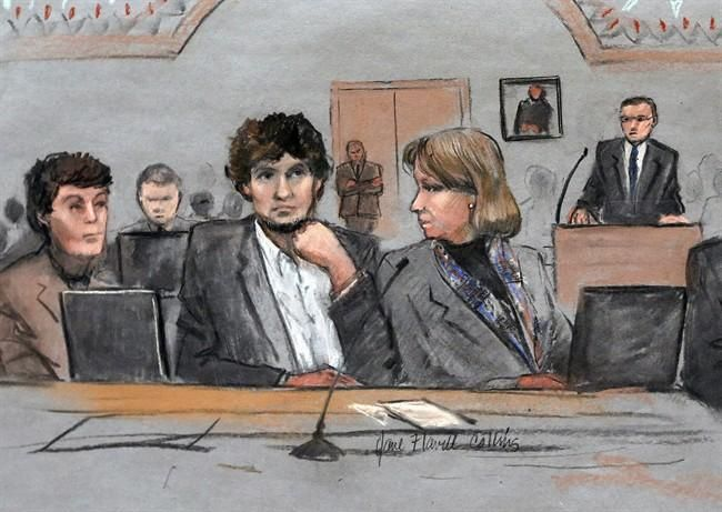 In this March 5, 2015 file courtroom sketch, Dzhokhar Tsarnaev, center, is depicted between defense attorneys Miriam Conrad, left, and Judy Clarke, right, during his federal death penalty trial in Boston (Ap photo).