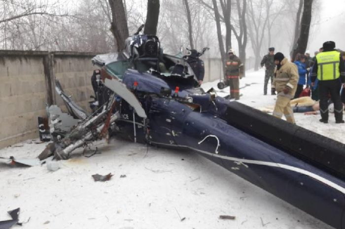 Private helicopter crashes in Almaty