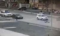Lexus driver failed to slow down for unregulated pedestrian crossing.