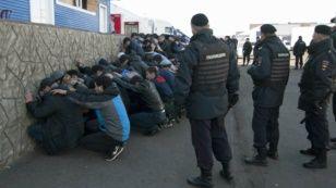 Полиция көкөніс базарында мигранттарды ұстап жатыр. Мәскеу, Бирюлево ауданы, 14 қазан 2013 жыл.