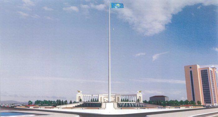 Флагшток в Атырау сдадут до Нового года. Теперь не упадёт?