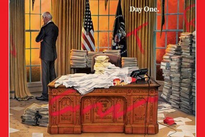 Time поместил на обложку Байдена в разгромленном Овальном кабинете
