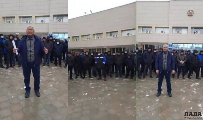 Жители Жанаозена провели митинг перед зданием акимата из-за высоких цен на газ